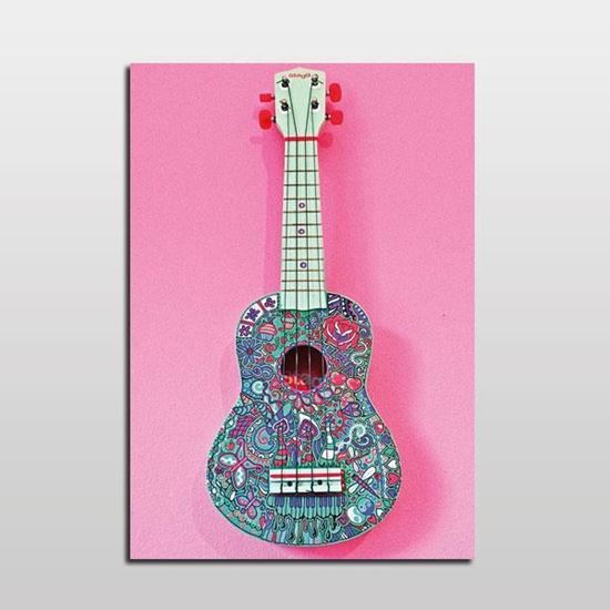 Picture of Pembe Fonda Gitar Pop Art Tablo